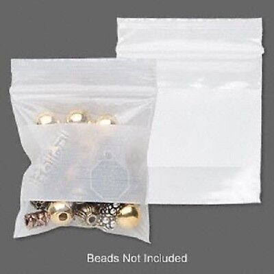2x2 Clear With White Block Poly Ziplock Bag Zip Lock Storage Tite-lip 100 Qty