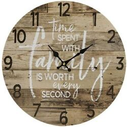 Primitive TIME WITH FAMILY CLOCK Country Farmhouse Rustic Wooden Wall