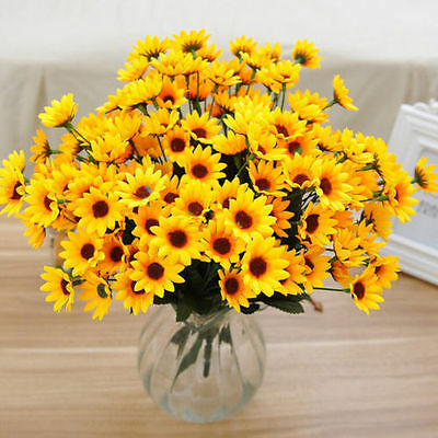 14Head Fake Sunflower Artificial Silk Flower Bouquet Home Wedding Table Decor  <