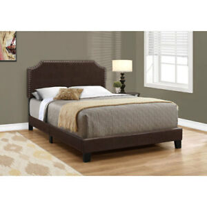 Monarch Upholstered Platform Bed - Double - Dark Brown New in Bo