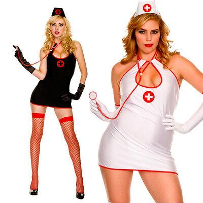 Satin Nurse Costume (Plus Size White or Black Sexy Nurse Doctor Satin Mini Dress Halloween)