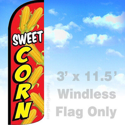 Sweet Corn - Windless Swooper Flag Feather Banner Sign 3x11.5 Ft - Rq