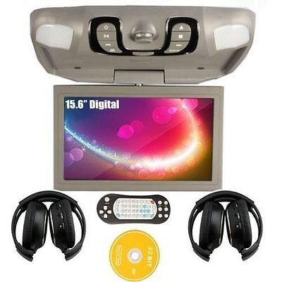 "Gray 15.6"" Car Roof Mount DVD Player Drop Down Monitor Games IR Headphones New"