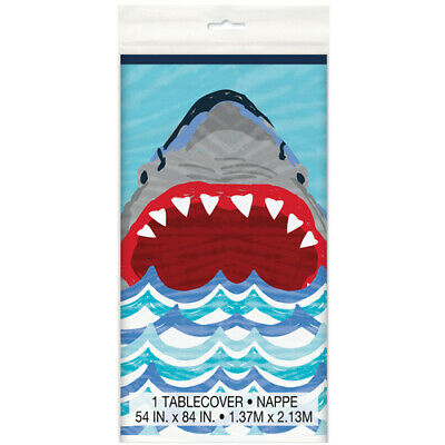 SHARK PARTY PLASTIC TABLE COVER ~ Birthday Supplies Cloth De