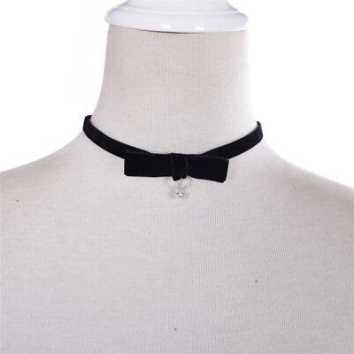 agen kurze Halskette schwarz Ribbon Velvet Chokers Kleid 4H (Ribbon Halskette)