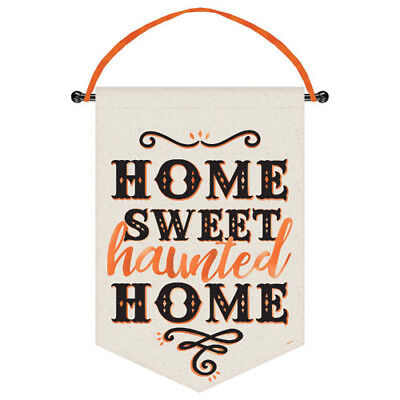 HALLOWEEN Home Sweet Haunted Home CANVAS SIGN ~ Birthday Party Supplies Decor (Halloween Party Sign)