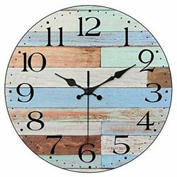 Non-Ticking Silent Wall Clocks Battery Operated Vintage Coastal Quartz 10 Inch