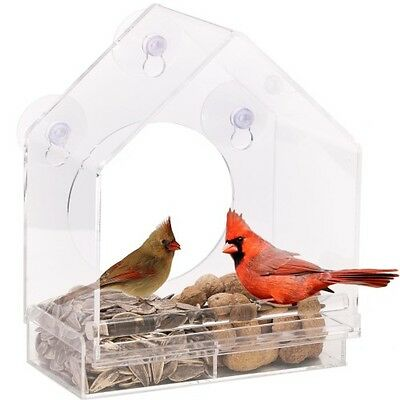 Window Bird Feeder House with Sliding Feed Tray, Clear Sturdy Robust Bird Lovers