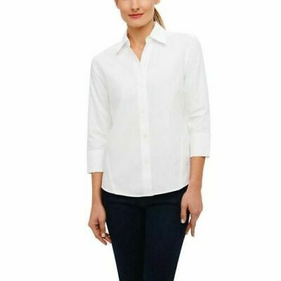 New Foxcroft Women's Stretch Poplin Blouse White XS