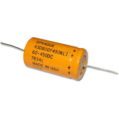 60uf 450v Axial Electrolytic Aluminum Capacitor 60mfd 450vdc Dc 43d Sprague