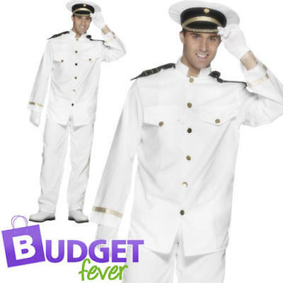Navy Captain Mens Fancy Dress Sailor Marine Uniform Occupation Adult Costume - Navy Captain Uniform Costume