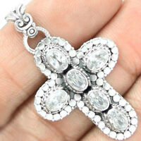 925 Hallmarked Silver CROSS Pendant with WHITE TOPAZ Gemstones.