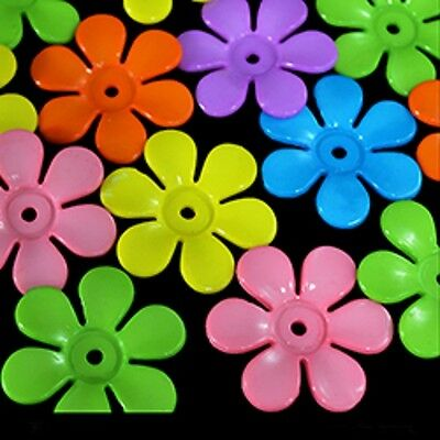 30 LARGE  1-3/8''  PLASTIC FLOWER CHARM BEADS BIRD TOY PARTS-