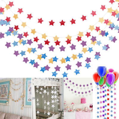 Star Paper Garland Hanging Chain Home Wedding Birthday Party Ceiling DIY Banner