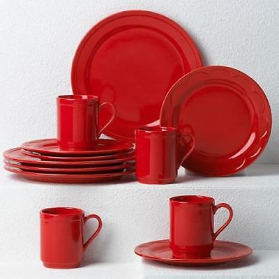 KATE SPADE ~ All in Good Taste Sculpted Scallop RED 12 Pc DINNERWARE  Lenox NIB