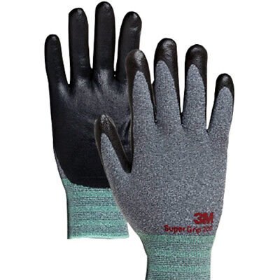 3M Super Grip 200 Gray Nitrile Foam Coated Work Safety Gloves (10 Pairs) Small i