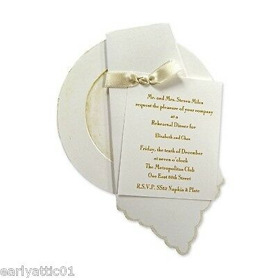 (Plate Napkin & Card Die-cut Invitations w/envelopes & Ribbons Sarah LeClere 10Pk)