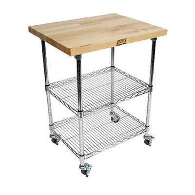 "John Boos MET-MWC-1 Mobile Wire Cart w/ Hard Maple Top & Chrome Shelves 21""W"