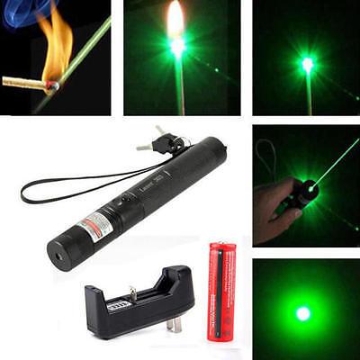 Military 532nm 5mw 303 Green Laser Pointer Lazer Pen Burning Beam +18650+Charger