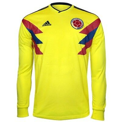 3f3173efca7 Adidas 2018 Colombia Long Sleeve Home Soccer Jersey (BR3511) Men's Size (M)  $100