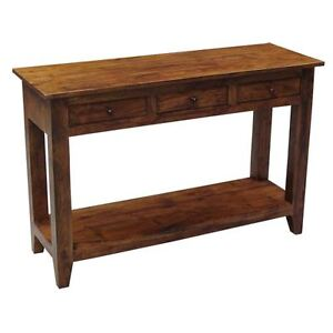 Sideboard Console Table 3 Drawer Unit Solid Acacia Wood