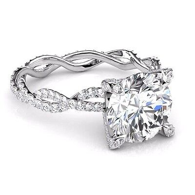 2.26Ct Round Brilliant Cut Diamond Infinity Engagement Ring Micro Pave H,VS1 GIA