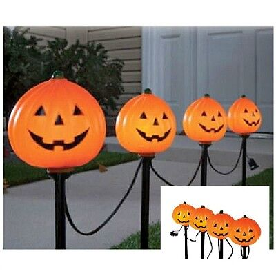 Halloween Pathway Markers 4Pc Lighted Orange Pumpkins Lawn Stakes Decoration New
