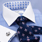 French Cuff White Geometric Dress Shirts for Men