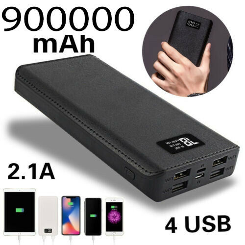 USA 900000mah Portable Power Bank LCD LED 4 USB Battery Charger For Mobile Phone Cell Phone Accessories
