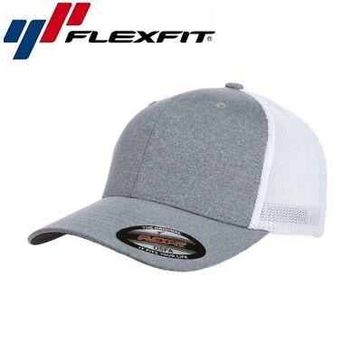 Weiß Mesh Cap (Flexfit Mesh Trucker Trucker Cap Uni/One Size Heather Grau Weiß)