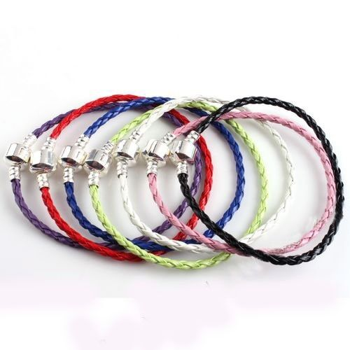 FREE-SHIP-1pcs-Leather-Bracelet-Fit-European-Charm-Beads-Pick-Your-Color-Size