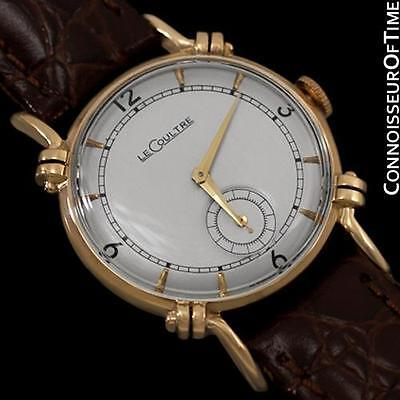 1944 JAEGER-LECOULTRE Vintage Mens Midsize Watch, Beautiful Case - 14K Gold
