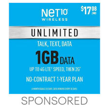 $17.08/Mo Net10 Prepaid Wireless Phone Plan+SIM-Unlimited Talk & Text 1GB