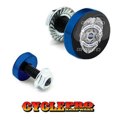 BLUE LINE POLICE 2 Silver Billet Aluminum Knurled Tire Valve Cap 098