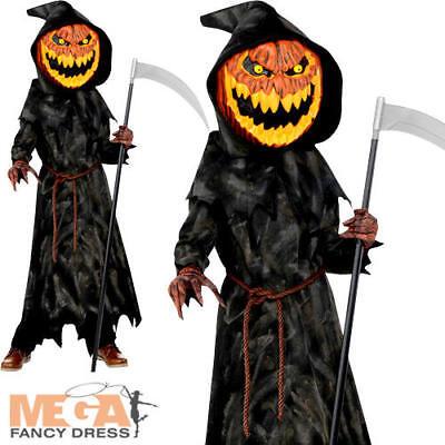 Jack-O-Lantern Boys Fancy Dress Halloween Pumpkin Reaper Kids Childrens (Jack O Lantern Kostüme)