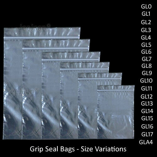 "15/"" x 20/"" 100 Grip Seal Resealable Bags GL17"