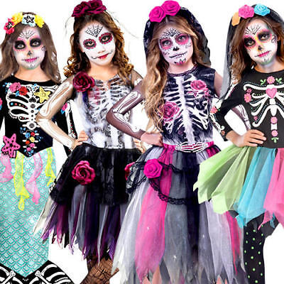 Day Of The Dead Girl Halloween Costume (Day of the Dead Girls Fancy Dress Skeleton Bones Halloween Childrens Kid)