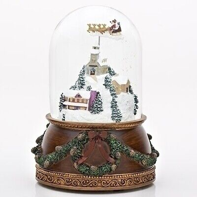 Santa in Town Animated Musical Glass Glitterdome Christmas 120mm Snow Globe New