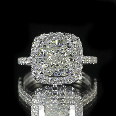 2.85ct GIA 18K White Gold Cushion Diamond Engagement Ring H/VS1 (7163849764)