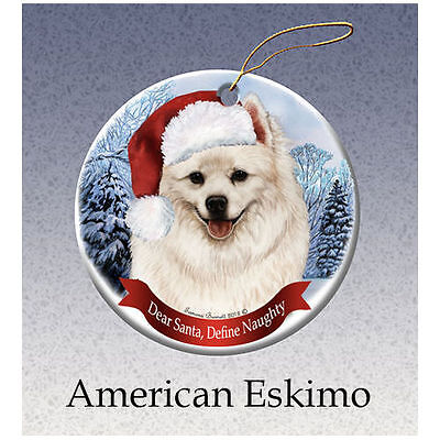 American Eskimo Howliday Porcelain China Dog Christmas Ornament