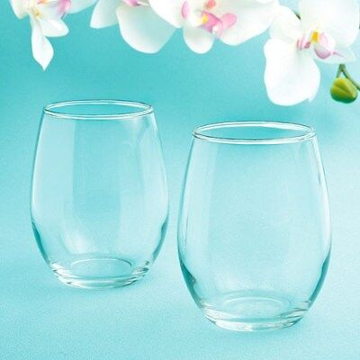 25 Stemless Wine Glasses Wedding Bridal Baby Shower Birthday Event Party Favors
