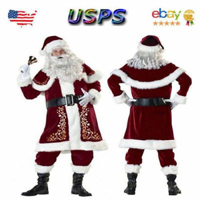 USA! Santa Claus Suit Adult Deluxe Velvet Christmas Costume Fancy Dress Full Set