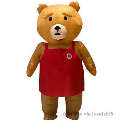 Inflatable Men's Teddy bear Mascot Costume Birthday Party Adults Fancy Dress - Teddy Bear Costume Men
