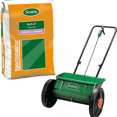 EVENGREEN DROP SPREADER + 25KG SPORTSMASTER SPRING AND SUMMER GRASS FERTILISER