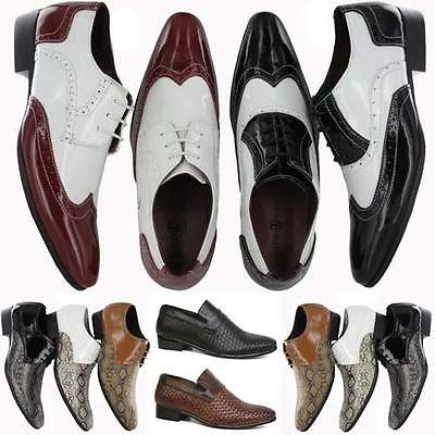 MENS BROGUE SHOES FUNKY POINTED JAZZ SPAT EVENING PARTY FORMAL GATSBY SHOES SIZE