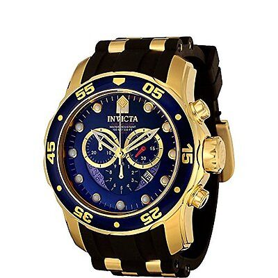 Invicta Mens 6983 Pro Diver Chronograph Polyurethane Band Watch (Gold/Black)