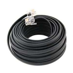 50-FT-Feet-RJ11-4C-Modular-Telephone-Extension-Phone-Cord-Cable-Line-Wire-Black