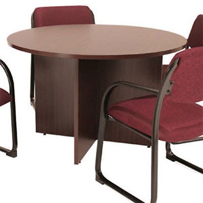 Round Conference Table Meeting Office Room Business Wood Mahogany Cherry 42 48