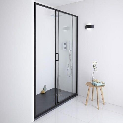Milano Nero Shower Sliding Glass Door Matt Black Aluminium Frame ...