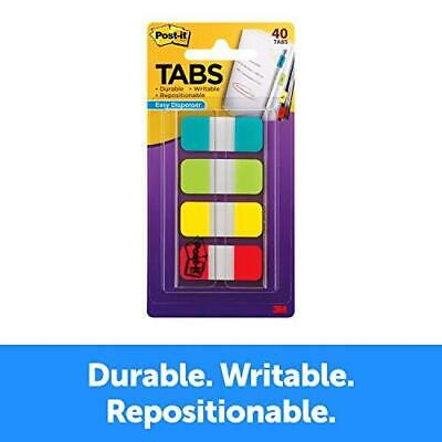 Post-it Tabs.625 In. Solid Aqua Lime Yellow Red Durable Writable